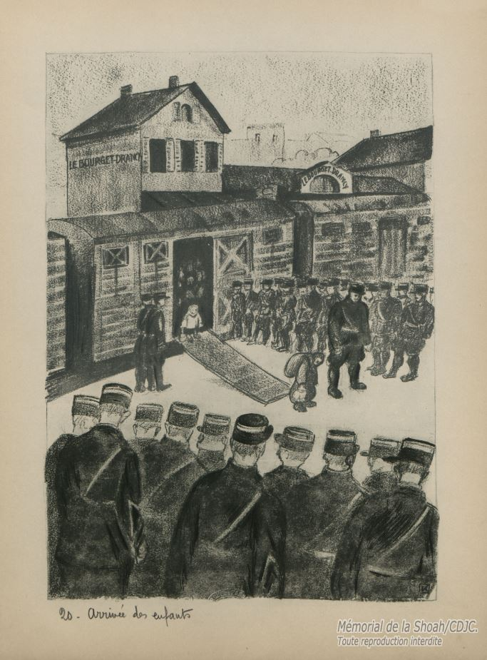 Première arrivée des enfants en gare du Bourget-Drancy, sans parents ni secours © Mémorial de la Shoah / Coll. part.