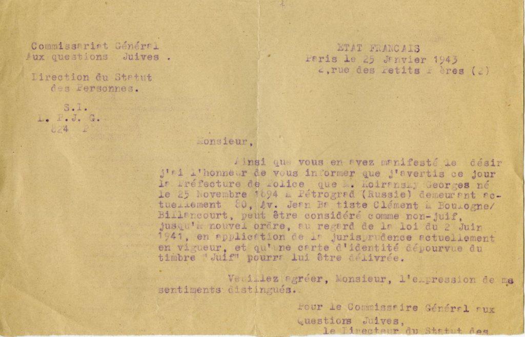 Décision du Commissariat général aux questions juives du 25 janvier 1943 déclarant Georges Koiransky « non juif ». © Mémorial de la Shoah